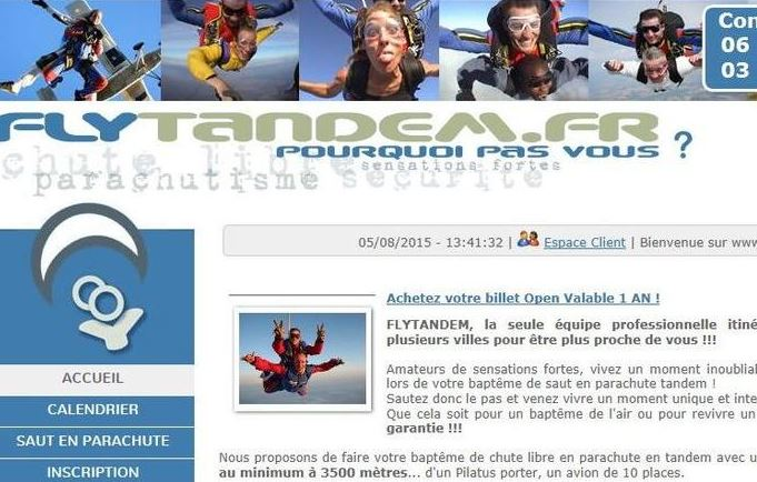 Attention arnaque saut en parachute tandem