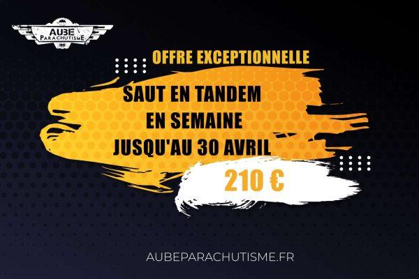 Offre promotionnelle saut en parachute en tandem proche de paris